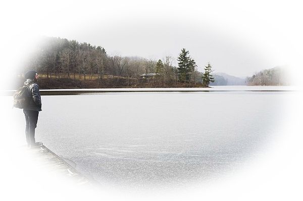 湖に氷が張って凍る夢